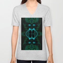 Dark Forest Lotus Fractal Art Print Unisex V-Neck