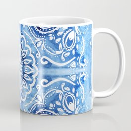 Batik Blue and White Mandala Coffee Mug