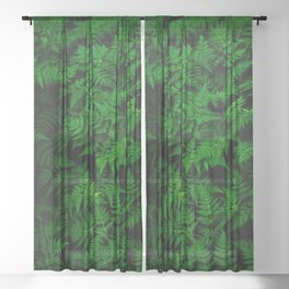 Deep Forest Ferns Sheer Curtain