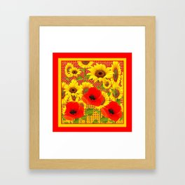 RED POPPIES YELLOW SUNFLOWERS RED PATTERN ART Framed Art Print