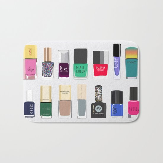 My nail polish collection art print Bath Mat