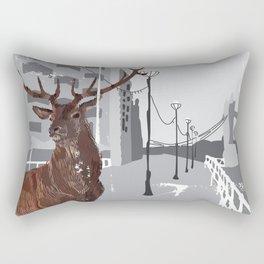 Cityscape Deer Rectangular Pillow