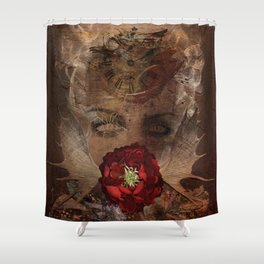 Lady with the red rose Shower Curtain