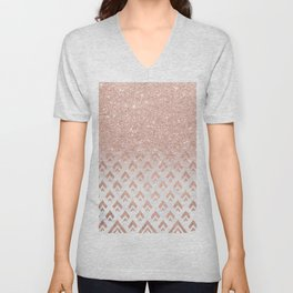 Faux rose gold glitter ombre rose gold foil triangles chevron geometric on white marble Unisex V-Neck