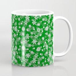 Festive Green and White Christmas Holiday Snowflakes Coffee Mug