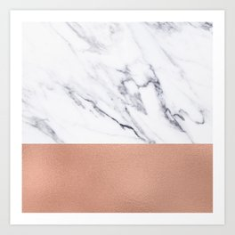 Marble Rose Gold Luxury iPhone Case and Throw Pillow Design Art Print