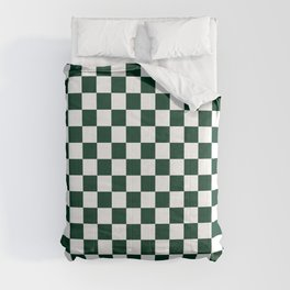 Small Checkered - White and Deep Green Comforters