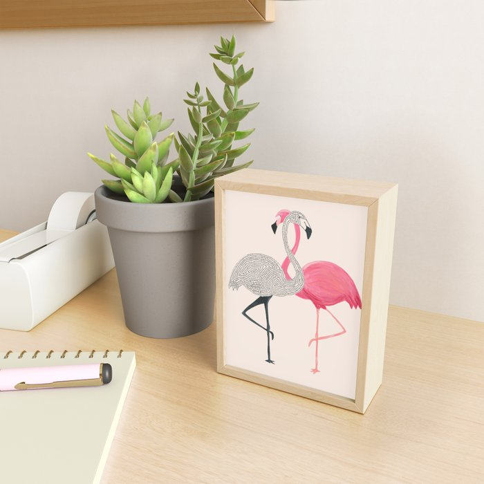 Two Flamingos Framed Mini Art Print