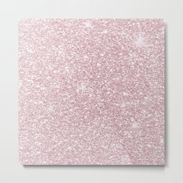 Elegant blush pink abstract trendy girly glitter Metal Print