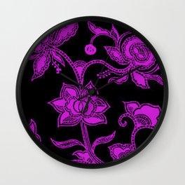 Vintage Floral Dazzling Violet and Black Wall Clock