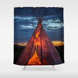 Southwestern Teepee Sunset Shower Curtain