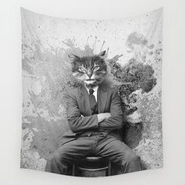 Vintage Black and White Gangster Cat Wall Tapestry