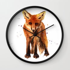 Watercolor FOX, FOX painting, animal art, watercolor animals, woodland nursery Wall Clock
