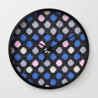 polka dots Wall Clocks featuring Polka Dots  by MyLove4Art