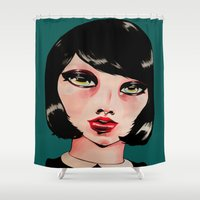 pacific rim Shower Curtains featuring RIM by Zelda Bomba