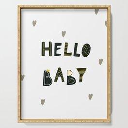 Hello Baby Cute Dinozaurus poster with hearts Serving Tray