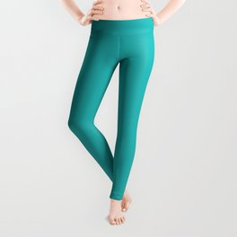 Mid Tone Tropical Aquamarine Blue Green Solid Color Inspired by Behr Caicos Turquoise MQ4-21 Leggings