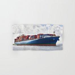 A massive container ship plies the Savannah River in Savannah Georgia Hand & Bath Towel