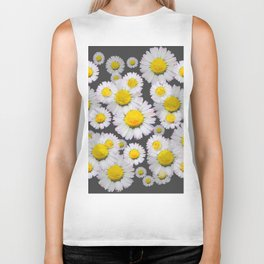 CHARCOAL GREY GARDEN OF SHASTA DAISY FLOWERS Biker Tank