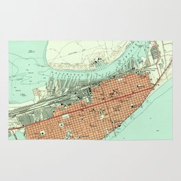 Vintage Map of Galveston Texas (1954) 3 Rug