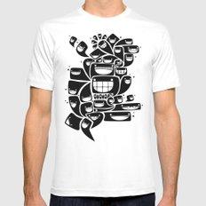 Happy Squiggles - 1-Bit Oddity - Black Version White MEDIUM Mens Fitted Tee