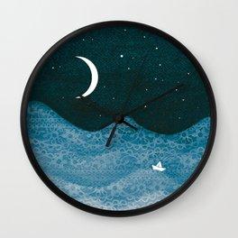 ornament ocean, moon & boat Wall Clock