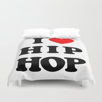 hip hop Duvet Covers featuring I love Hip Hop by Funky House