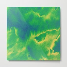 Watercolor texture - green and blue Metal Print