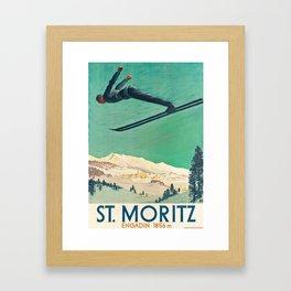 The Jump,Vintage Ski Travel Poster Framed Art Print