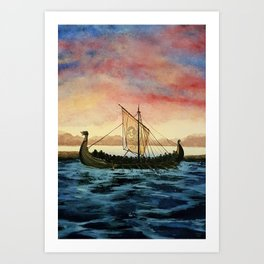 Drakkar, watercolor Art Print