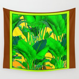 COFFEE BROWN TROPICAL GREEN & GOLD FOLIAGE ART Wall Tapestry