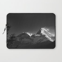 Black and White Snowy Peaks of the Himalaya Mountains. Nature Photography. Laptop Sleeve