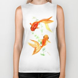 Goldfish, Feng Shui Asian Watercolor Biker Tank