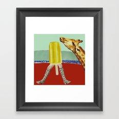 Ferdinand the Giraffe cools down Framed Art Print