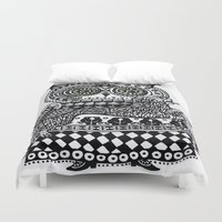 celtic Duvet Covers featuring Celtic owl by oxana zaika