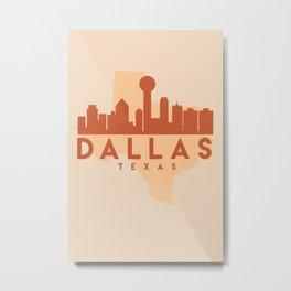 DALLAS TEXAS CITY MAP SKYLINE EARTH TONES Metal Print