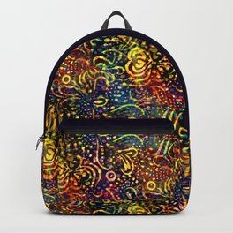 Rainbow Dotted Floral Batik Pattern Backpack