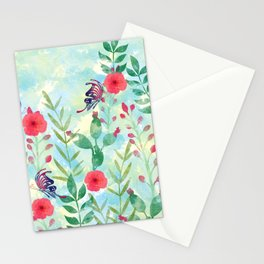 Watercolor floral garden Stationery Cards