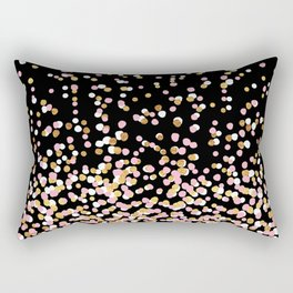 Floating Dots - White, Gold and Pink on Black Rectangular Pillow