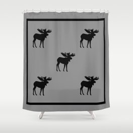 Bull Moose Silhouette - Black on Gray Shower Curtain