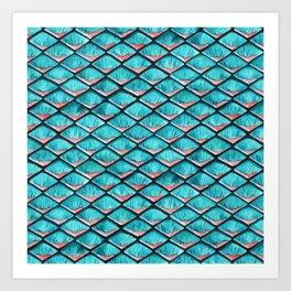 Teal blue and coral pink arapaima mermaid scales Art Print