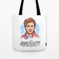 star lord Tote Bags featuring Star Lord by Nicolaine