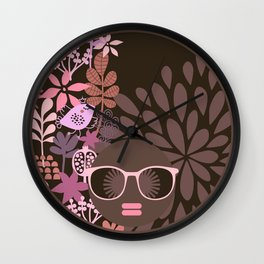 Afro Diva : Sophisticated Lady Pink Taupe Lavender Wall Clock