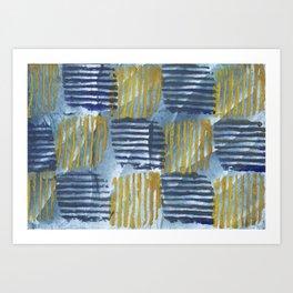 Abstract yellow blue Art Print