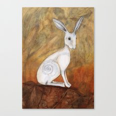 White Hare at Sunset Canvas Print