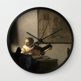 Vermeer,Woman with a Lute,Mujer con laúd, De luitspeelster Wall Clock