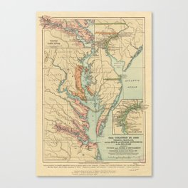 Vintage Virginia and Maryland Colonies Map (1905) Canvas Print