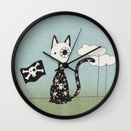 Just a Pirate Cat Wall Clock