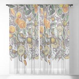 Doodle oranges Sheer Curtain