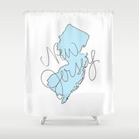 new jersey Shower Curtains featuring New Jersey - Blue by Oh Happy Roar - Emily J. Stivers